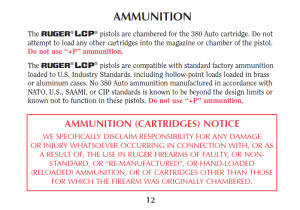 Excerpt from Ruger LCP owner's manual